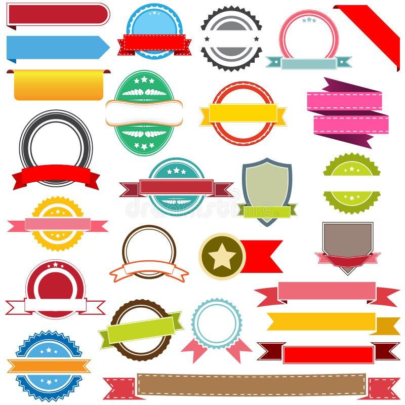 Set wektorowi faborki, etykietki, sztandary i emblematy, ilustracja wektor