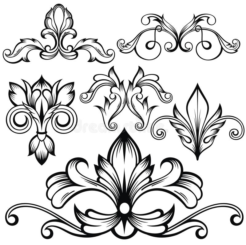 Set wektorowi kaligraficzni dekoracyjni elementy dla projekta ilustracji