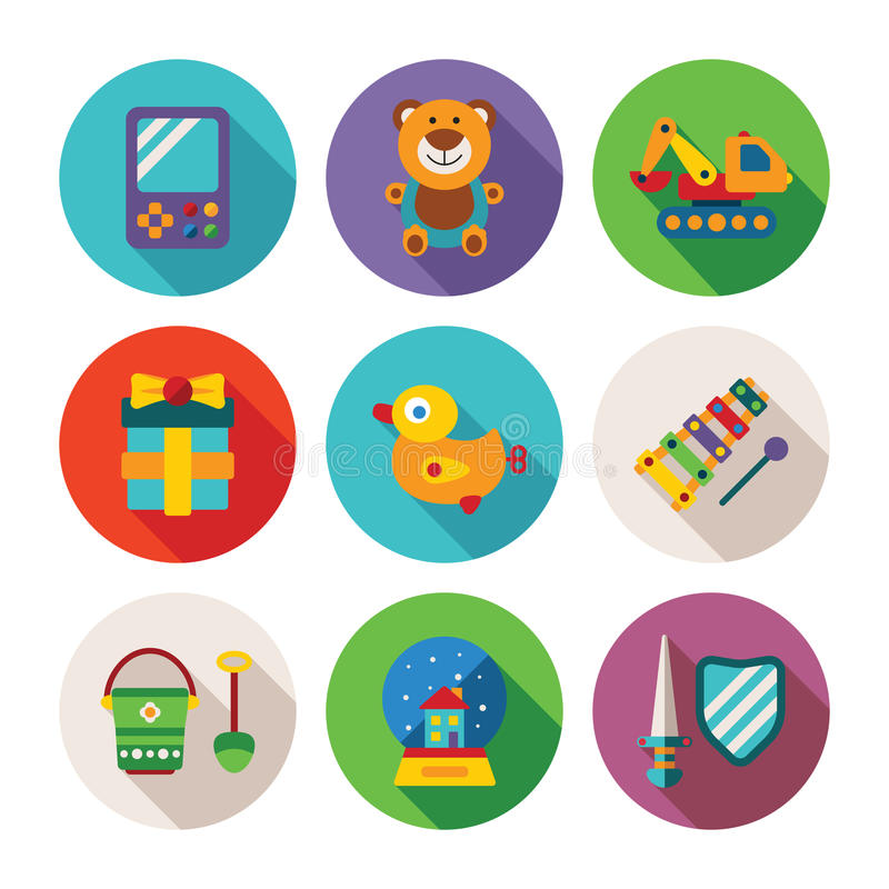 Set wektorowi kolorowi dzieciaki bawi się ikony w mieszkanie stylu ilustracja wektor