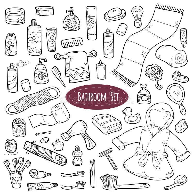 Set wektorowi kreskówki łazienki elementy i osobistej higieny ite ilustracji
