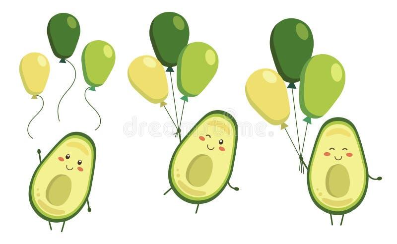 Set wektorowi kreskówki avocado bohaterzy z balonami w kawaii stylu Charaktery dla dzieciak kolorystyki książki, koloryt strony ilustracja wektor