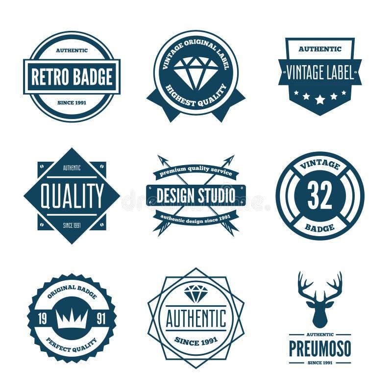 Set wektorowi logotypów elementy, etykietki, odznaki i sylwetki, ilustracji