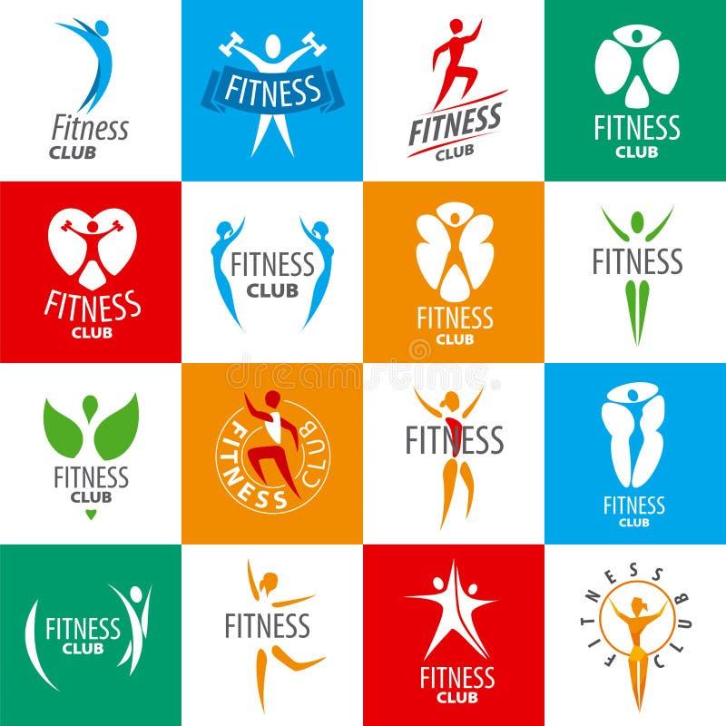Set wektorowi logowie dla sprawność fizyczna klubów royalty ilustracja