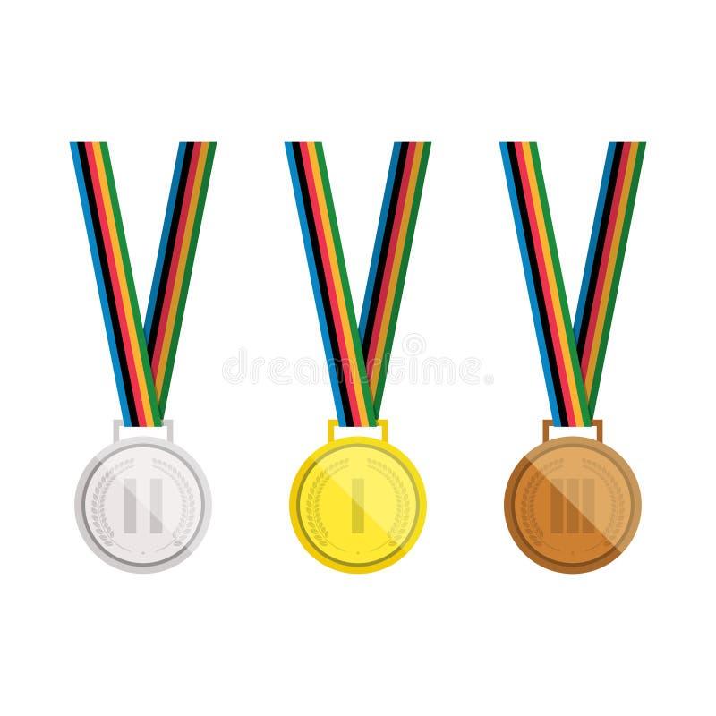 Set wektorowi medale Złoto, srebro i brązowy medal z Laurowym wiankiem, pojedynczy białe tło ilustracja wektor