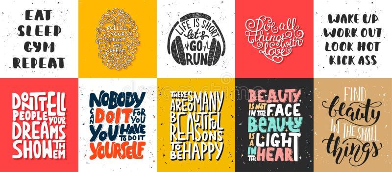 Set wektorowi motywacyjni i inspiracyjni literowanie plakaty royalty ilustracja