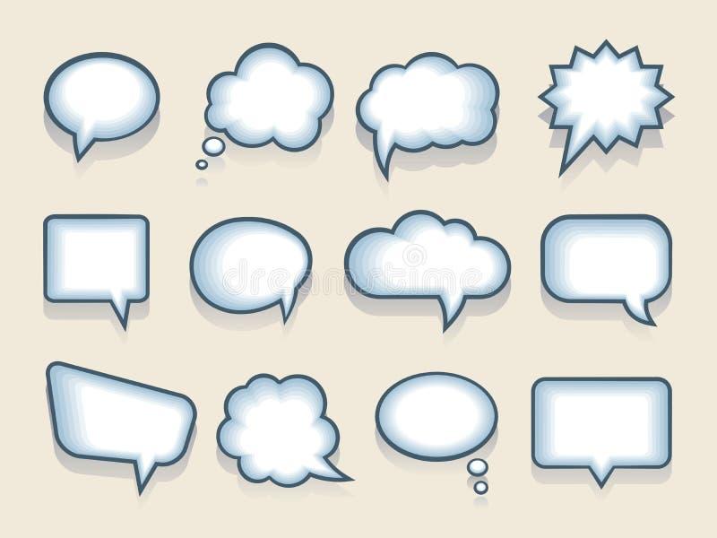 Set wektorowi mowy lub myśli bąble ilustracja wektor