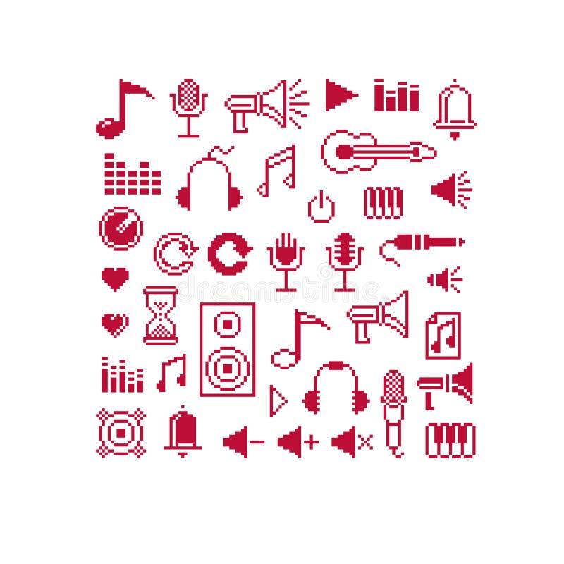 Set wektorowi muzykalnych notatek retro znaki robić w piksel sztuki stylu ilustracja wektor