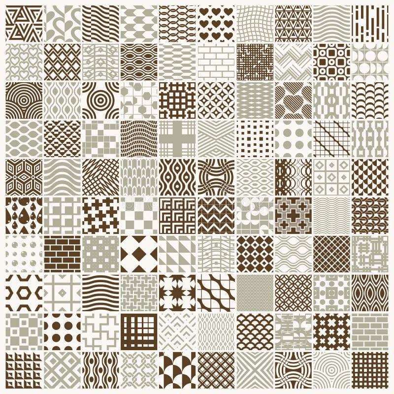 Set wektorowi nieko?cz?cy si? geometryczni wzory komponuj?cy z r??nymi postaciami jak rhombuses, kwadraty i okr?gi, 100 graficzny ilustracja wektor