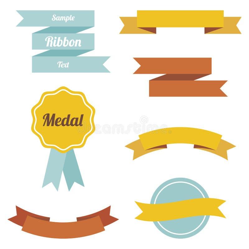 Set wektorowi płascy faborki i etykietki ilustracja wektor