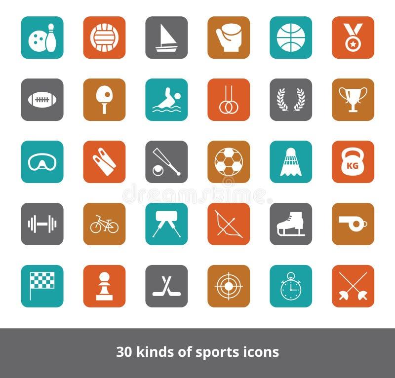 Set wektorowi płascy sieci ikon rodzaje sporty na barwionym kwadracie ilustracji