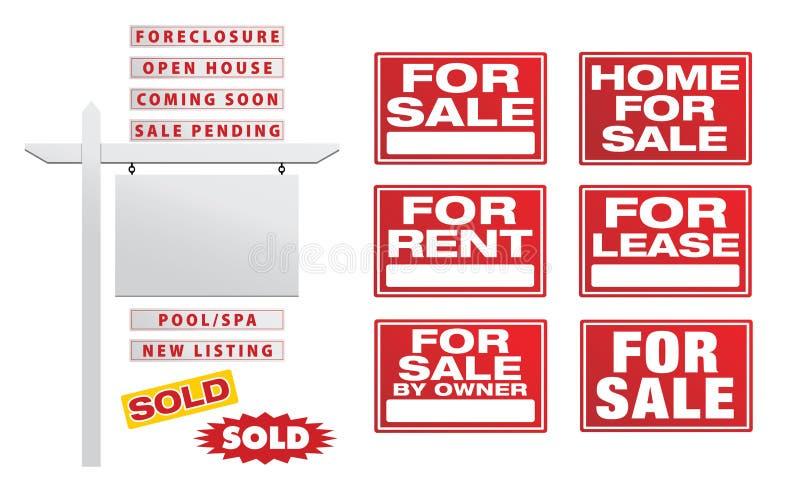 Set Wektorowi Real Estate znaki z plakatami - Buduje Twój Swój royalty ilustracja