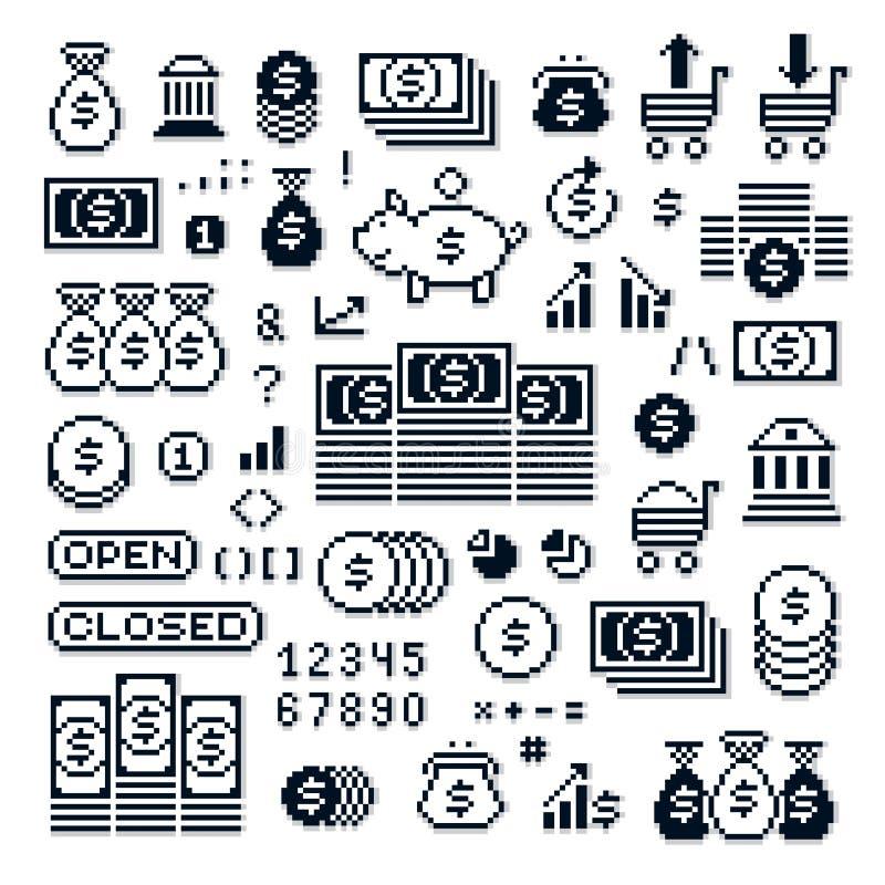 Set wektorowi retro znaki robić w piksel sztuki stylu Ekonomie i ilustracja wektor