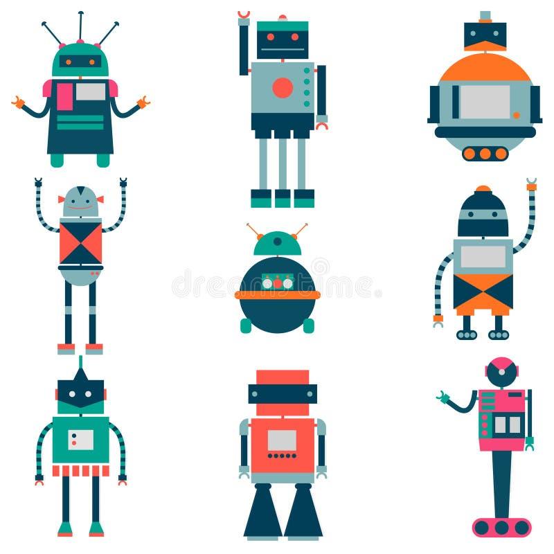 Set wektorowi roboty w kreskówka stylu Odosobneni wektorowi roboty w białym tle ilustracji