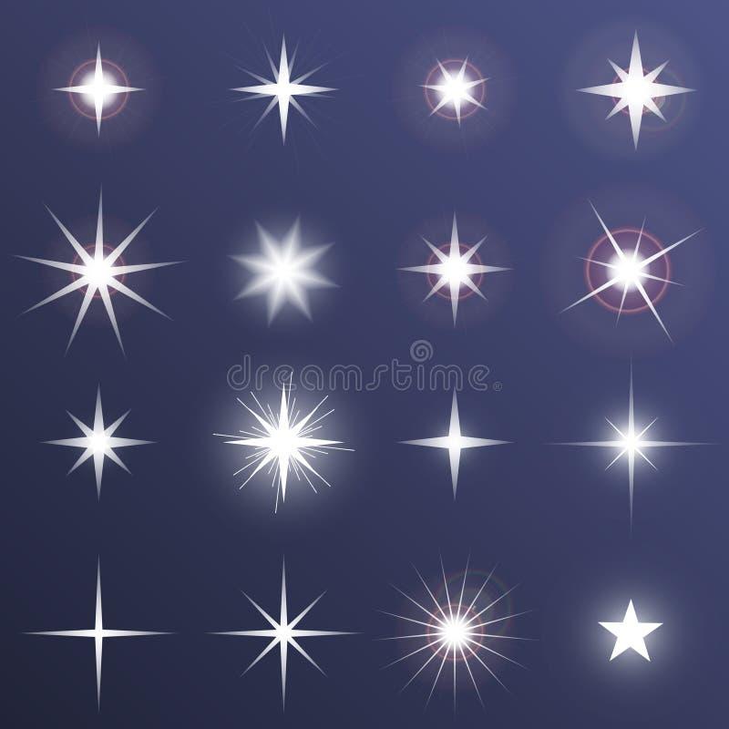 Set Wektorowi rozjarzeni lekkiego skutka gwiazd wybuchy z błyska na ciemnym tle Przejrzyste wektor gwiazdy ilustracji