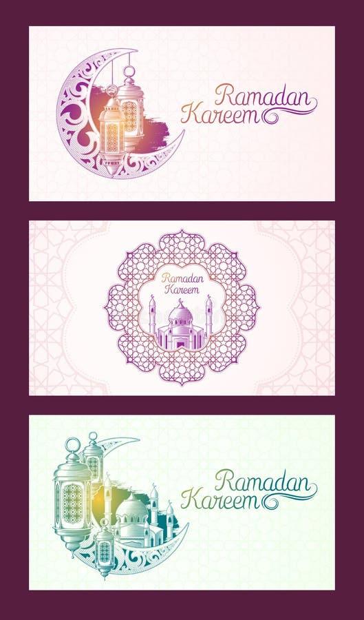 Set wektorowi sztandary dla Ramadan Kareem z Ramadan lampionem, góruje meczet, rocznik księżyc i języka arabskiego wzór, ilustracja wektor