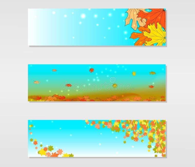 Set wektorowi sztandary z barwionymi jesień liśćmi klonowymi ilustracji