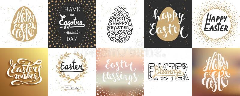Set wektorowi Wielkanocni literowanie plakaty, kartka z pozdrowieniami, dekoracja, druki ilustracji