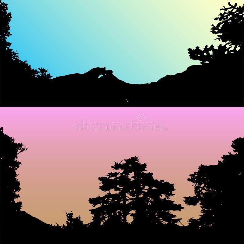 Set wektorowi wzgórza i góry krajobrazowa sylwetka Realistyczni drzewa, drewna na wzgórze sylwetkach na nocy i wieczór, ilustracja wektor