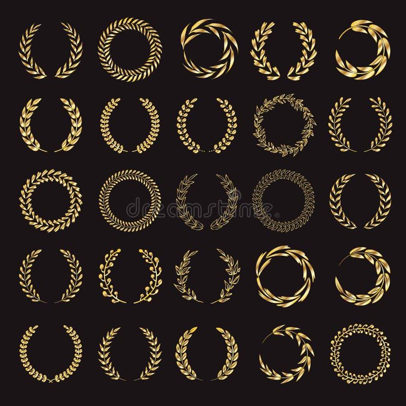 Set wektorowi złoci laurowi wianki ilustracji