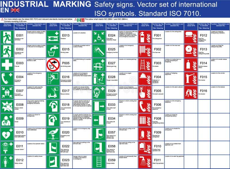 Set wektorowi zbawczych znaków budynki i inni zastosowania Ustawia ISO 7010 standaryzujących wektorowych zbawczych symbole Wektor royalty ilustracja