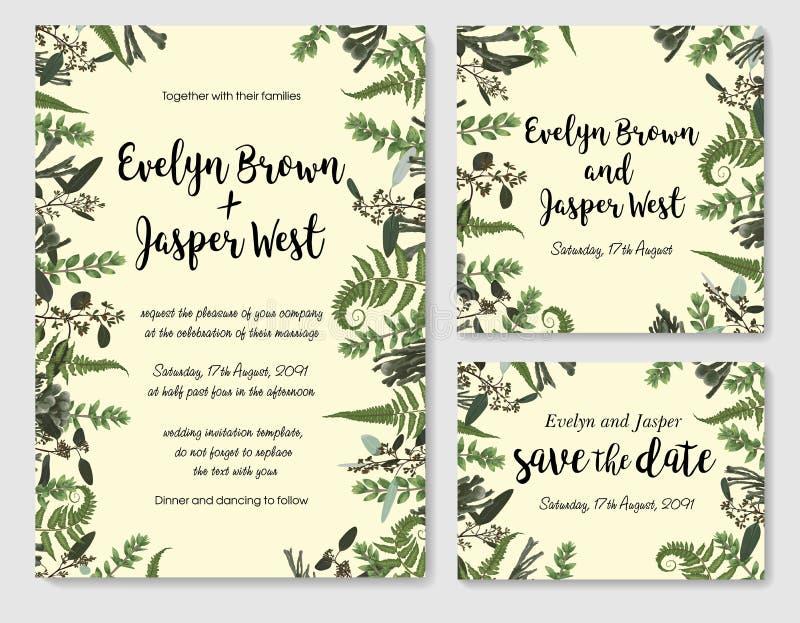 Set wektorowy ślubny zaproszenie, kartka z pozdrowieniami, save data Rama zieleni liście paproci, brunia, boxwood i eukaliptusa g ilustracji