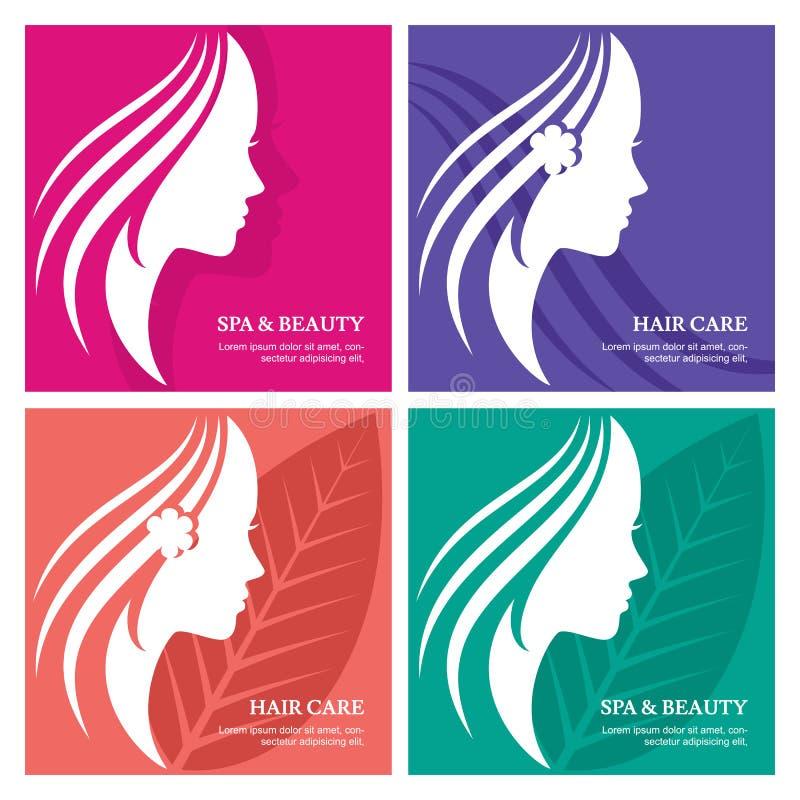 Set wektorowy abstrakcjonistyczny tło z pięknym kobiety twarzy silh royalty ilustracja
