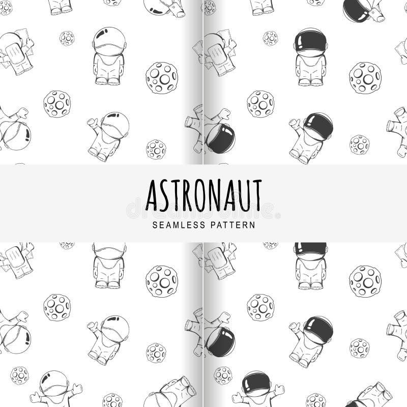 Set wektorowy bezszwowy wzór na astronautycznym temacie Pojęcie Kreskówka astronauta w kosmosie ilustracja wektor