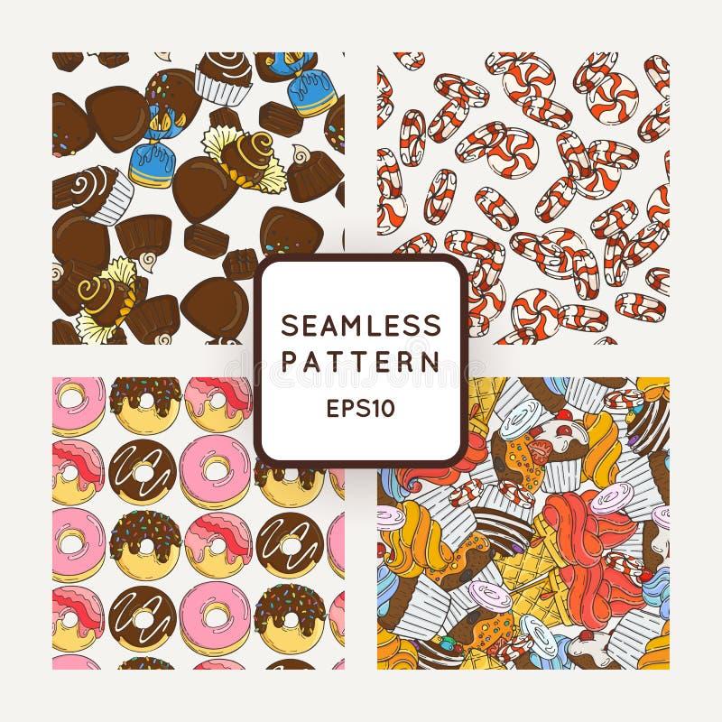 Set Wektorowy cukierek, łęki i Muffins Bezszwowi wzory, Cukierki Partyjna tekstura ilustracji
