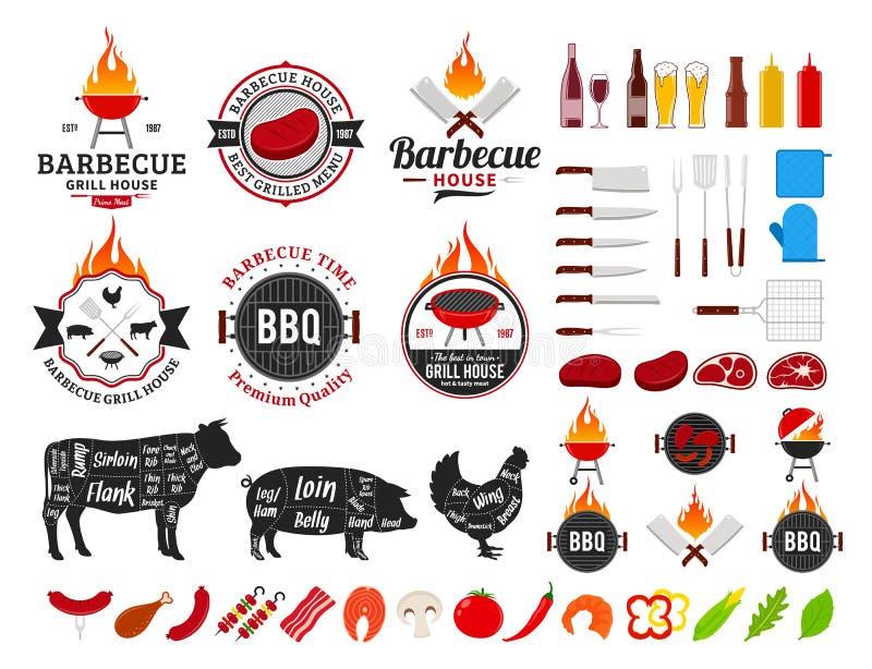 Set wektorowy grilla logo, etykietki i ikony, royalty ilustracja