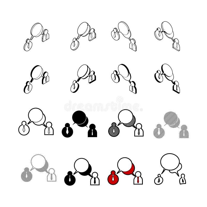 Set wektorowy Inkasowy nowożytny wektor Ludzie gadki ikony wielo- t ilustracja wektor