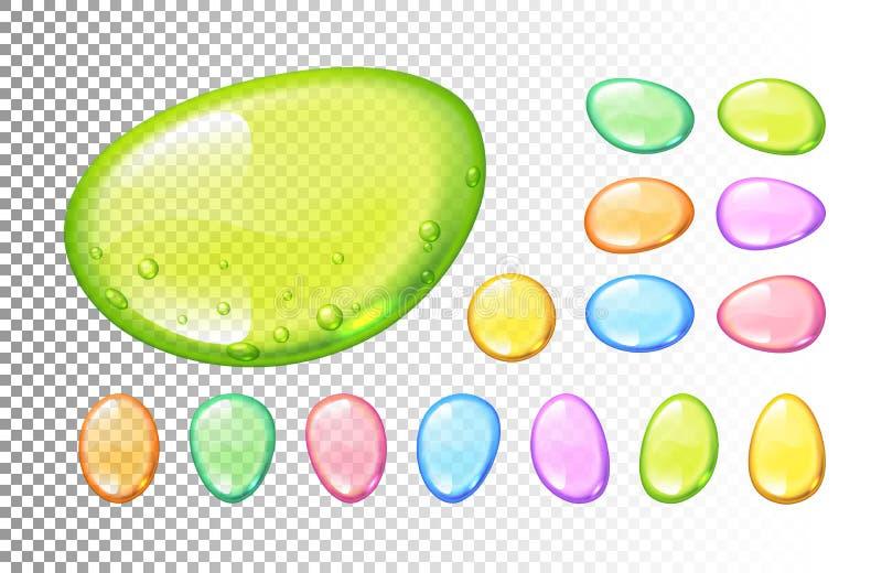 Set wektorowy kolorowy cukierek opuszcza na przejrzystym tle ilustracja wektor