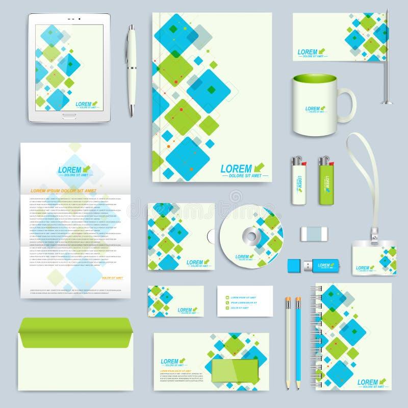 Set wektorowy korporacyjnej tożsamości szablon Nowożytny biznesowy materiały egzamin próbny Oznakować projekt z błękitem i zielen ilustracji