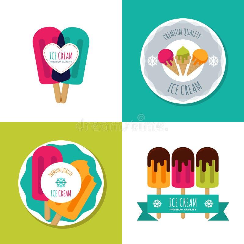 Set wektorowy lody logo, etykietka, odznaki lub emblematy, Nowożytne płaskie lody ikony ilustracji