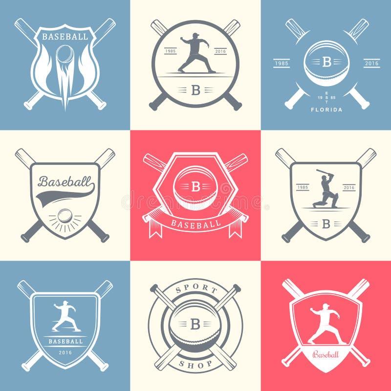 Set Wektorowy loga i odznak baseball ilustracja wektor