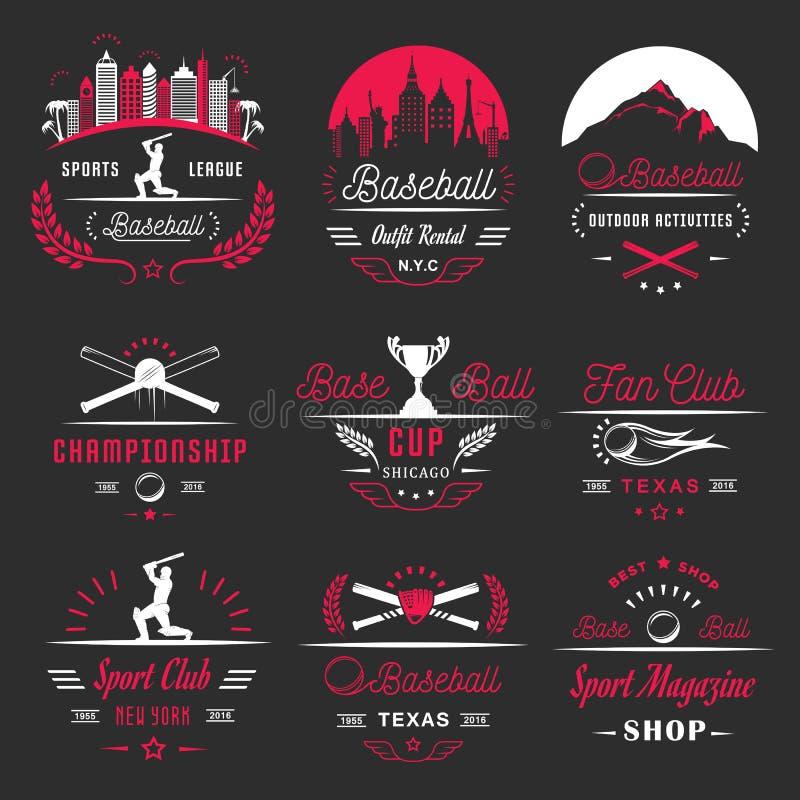 Set Wektorowy loga i odznak baseball ilustracji