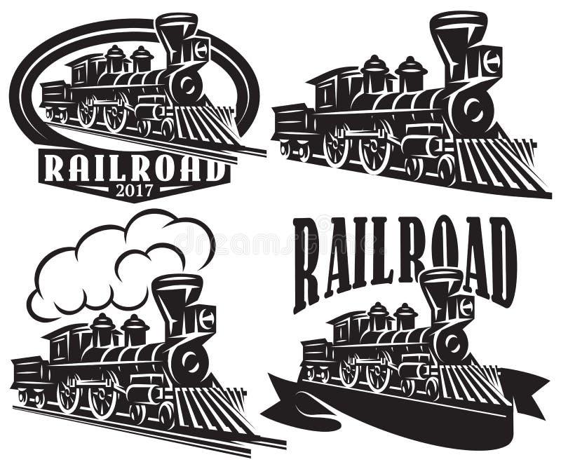 Set wektorowy logo w rocznika stylu z lokomotywami Emblematy, etykietki, odznaki lub wzory na retro linia kolejowa temacie, royalty ilustracja