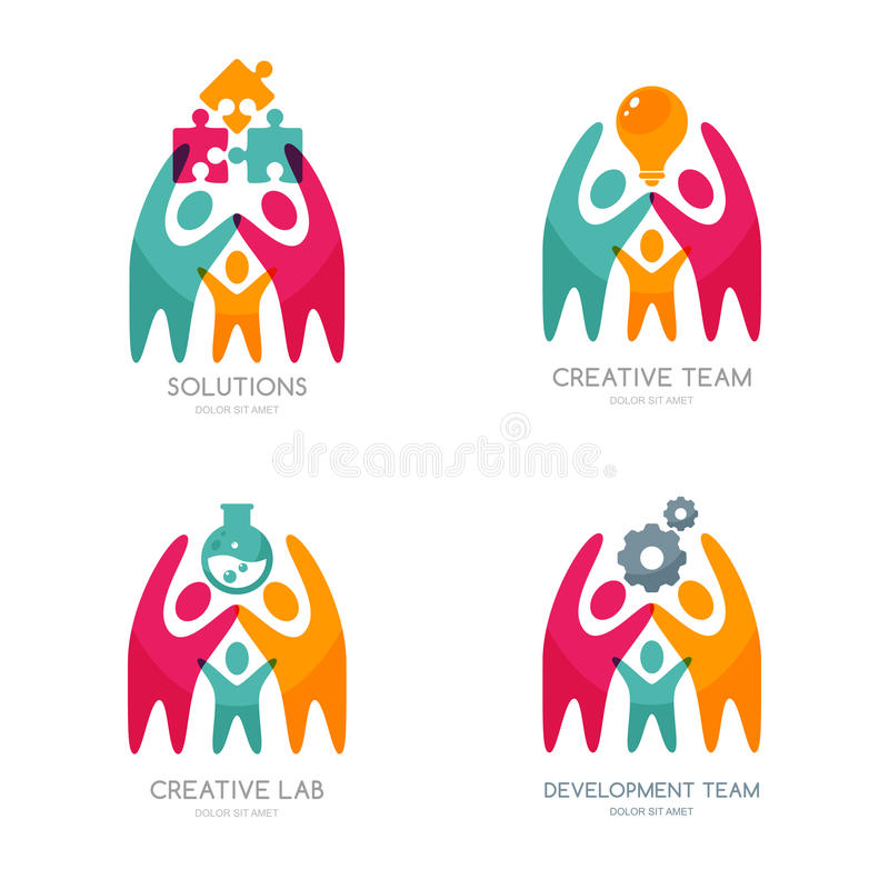 Set wektorowy ludzki logo, ikony lub emblemat, ilustracji