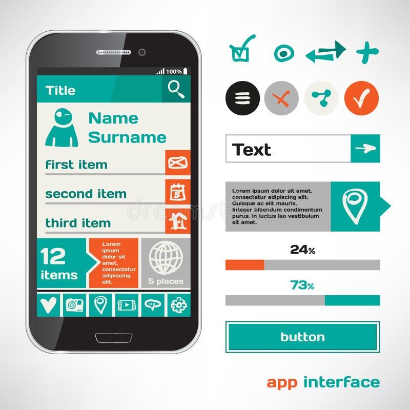 Set Wektorowy Mobilny mieszkania UI elementów projekta nakreślenia temat ilustracja wektor