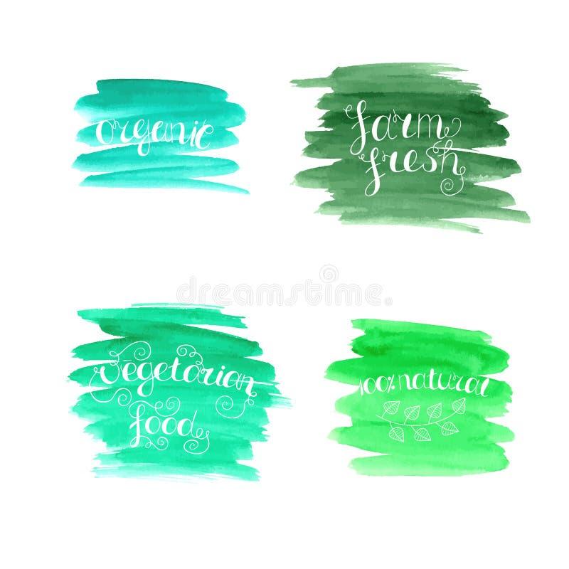 Set wektorowy ręcznie pisany literowanie na abstrakcjonistycznym akwareli tle ilustracja wektor