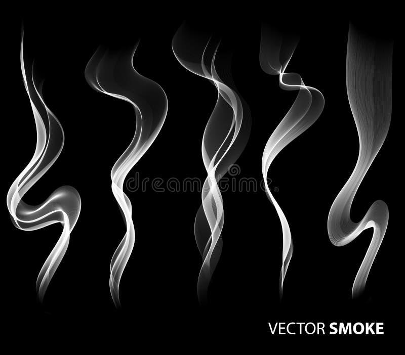 Set Wektorowy realistyczny dym na czarnym tle royalty ilustracja