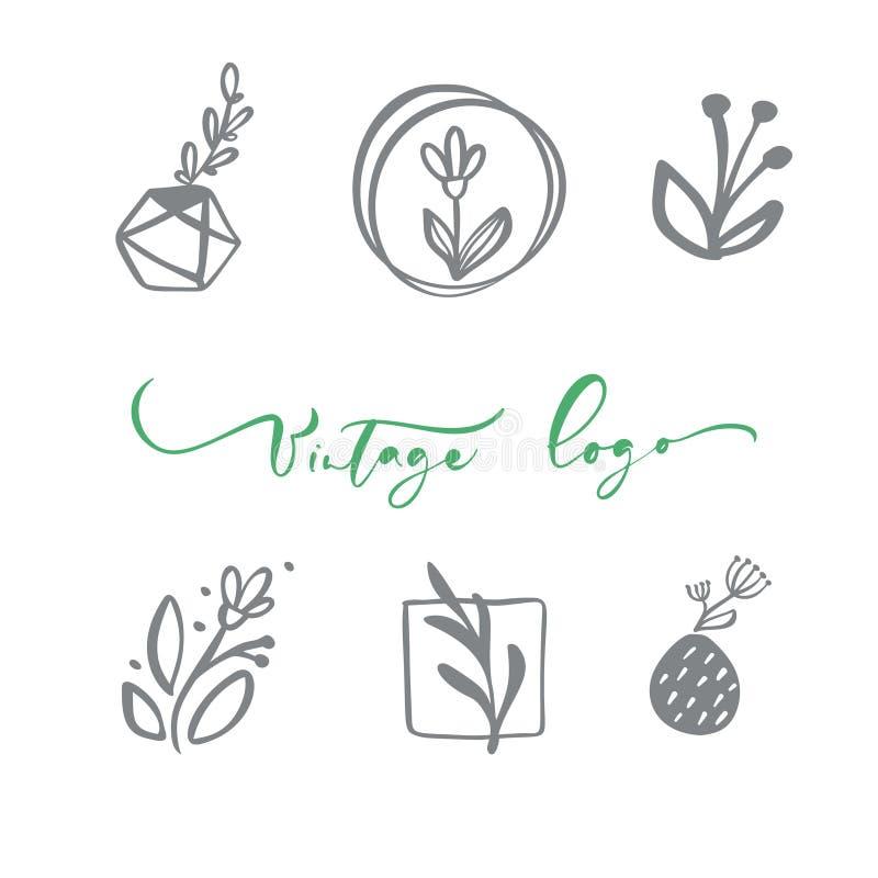 Set wektorowy scandinavian kwiecisty logo R?ka rysuj?cy ikona kwiatu organicznie kosmetyk, kwiaciarnia ?lub, domowy wystr?j Roczn ilustracja wektor