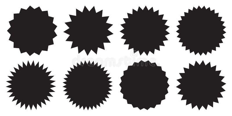 Set wektorowy starburst, sunburst odznaki Czarne ikony na bia?ym tle Proste mieszkanie stylu rocznika etykietki, majchery ilustracja wektor