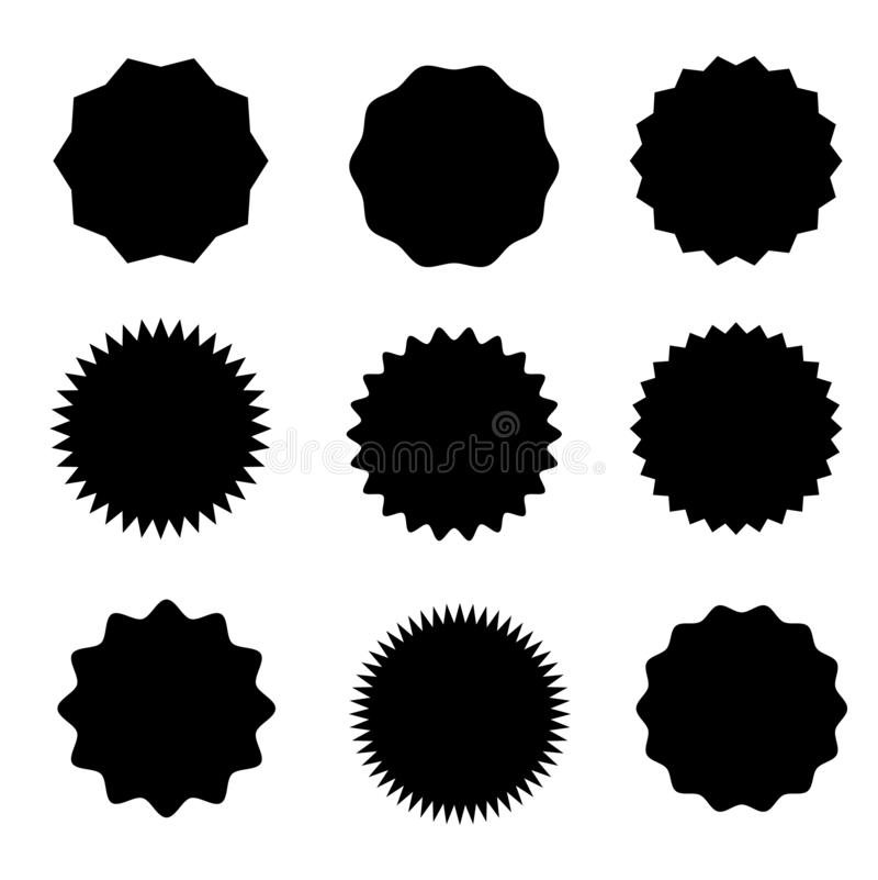 Set wektorowy starburst, sunburst odznaki Dziewięć różnych form Proste mieszkanie stylu rocznika etykietki ilustracji