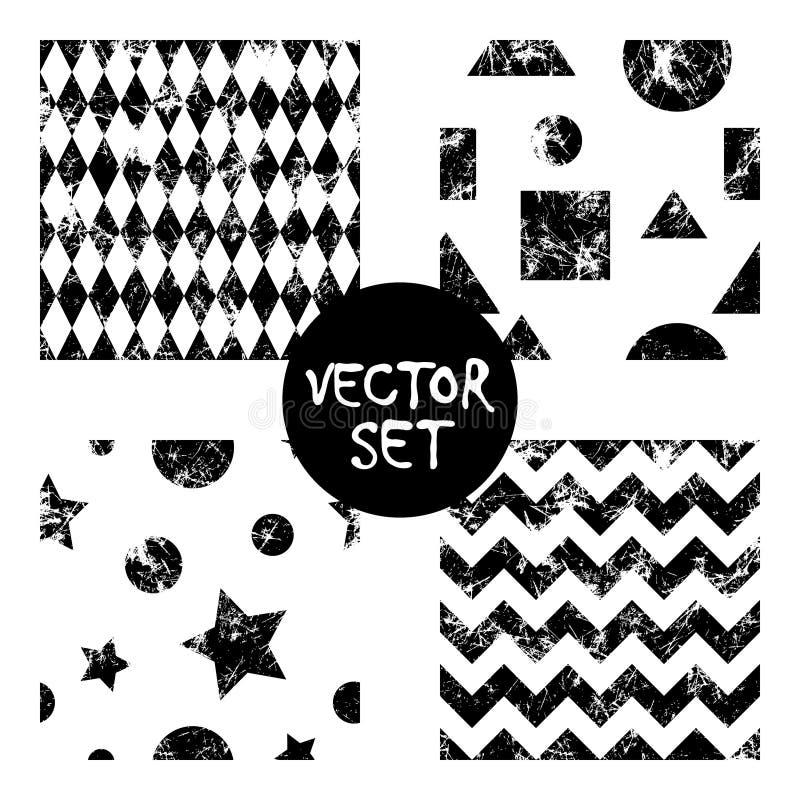 Set wektorowych bezszwowych wzorów Kreatywnie geometryczni czarny i biały tła z kwadratami, gwiazdy, okręgi Tekstura z otarciem, ilustracja wektor