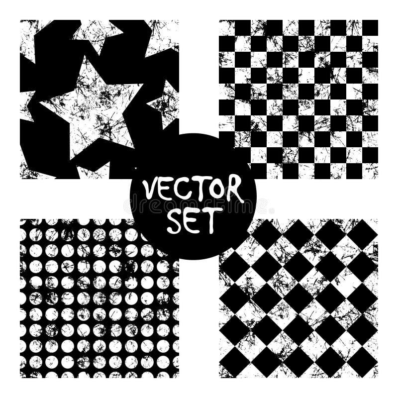 Set wektorowych bezszwowych wzorów Kreatywnie geometryczni czarny i biały tła z kwadratami, gwiazdy, okręgi Tekstura z otarciem, royalty ilustracja