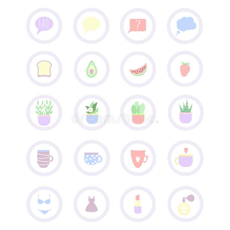 Set 20 wektorowych ikon z jedzeniem, kosmetykami, płótnem i znakami dla pociska czasopisma, ilustracja wektor