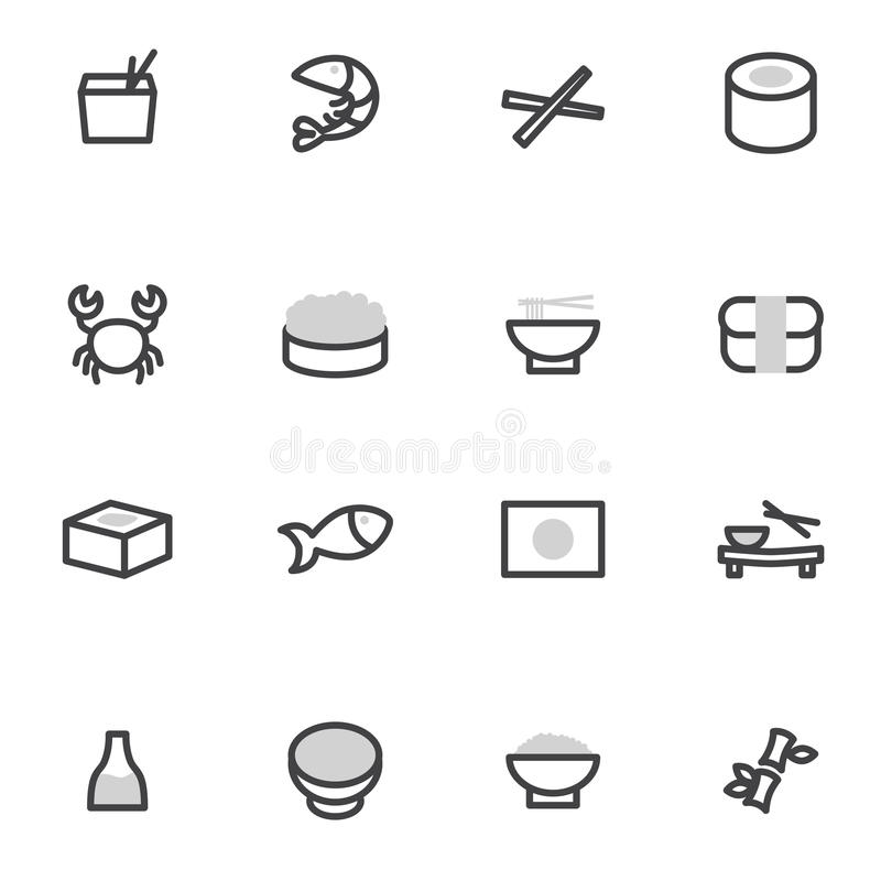 Set wektorowych ikona elementów Japońska kuchnia, suszi, rolki, owoce morza i azjata jedzenie, ilustracji