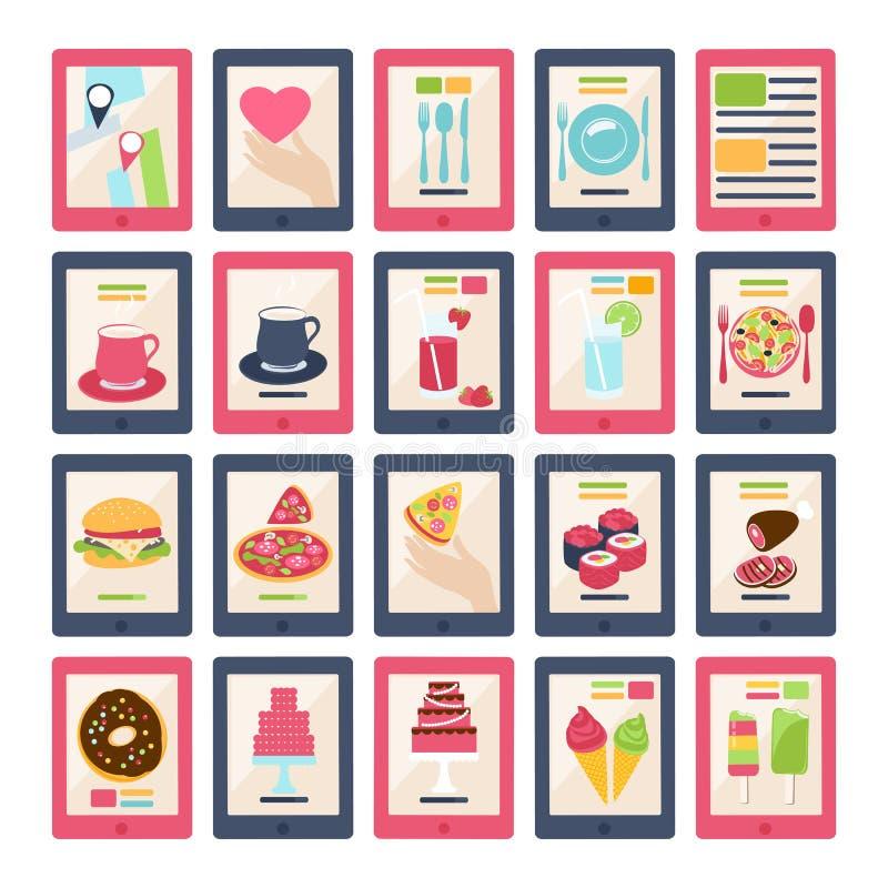 Set 20 wektorowych karmowych ikon ilustracji