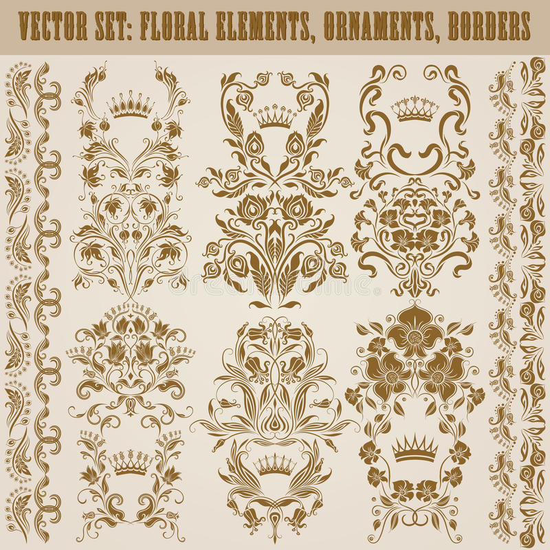 Set wektoru adamaszka ornamenty. ilustracji