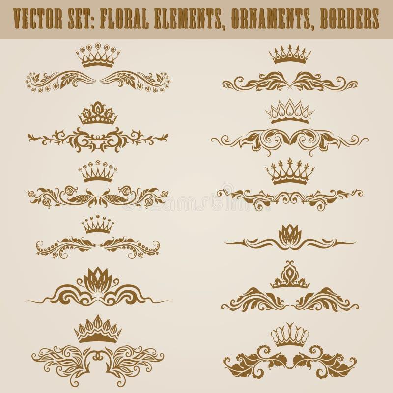 Set wektoru adamaszka ornamenty. ilustracja wektor